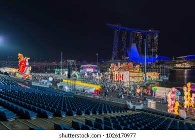 Singapore, Singapore - February 15, 2018: River Hongbao, Chinese New Year Lantern Festival at Marina Bay, Singapore