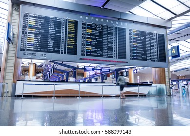 SINGAPORE, FEBRUARY 16, 2017: Airport Departure Board Information at Changi International Airport in Singapore. Changi Airport serves more than 100 airlines operating 7,000 weekly flights