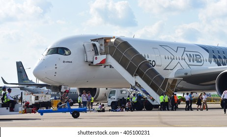 SINGAPORE - FEBRUARY 16:  Airbus A350-900 XWB on display at Singapore Airshow February 16, 2016 in Singapore