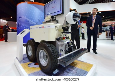 SINGAPORE - FEBRUARY 16:  Airbus Air-cobot visual inspection robot on display at Singapore Airshow February 16, 2016 in Singapore