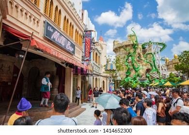SINGAPORE - FEBRUARY 17, 2017: Journey with Giant Journey at Puss in Boots at Universal Studios, Singapore.