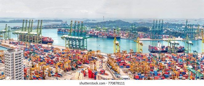 SINGAPORE, SINGAPORE - FEBRUARY 18, 2017: Singapore commercial port  in Singapor. It's the world's busiest port in terms of total shipping tonnage.