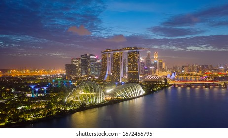 SINGAPORE - FEBRUARY 2: Aerial view of Singapore business district and city, Marina Bay is bay located in the Central Area of Singapore on February 2, 2020 in Singapore.