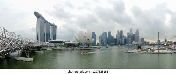 Singapore - February 2017:  Helix Bridge and Marina Bay Sands Hotel Singapore, Southeast Asia.