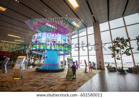 SINGAPORE - February 22, 2016: One of the largest transportation hubs in Southeast Asia, Interior of Changi Airport. in Singapore, The World's Top 100 Airports.