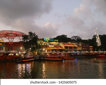Singapore - February 25th, 2016: Clarke Quay, a historical riverside quay in Singapore