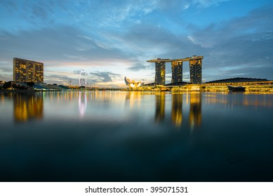SINGAPORE, FEBRUARY 26 2016 : Singapore cityscape of the financial district, Singapore on February 26 2016