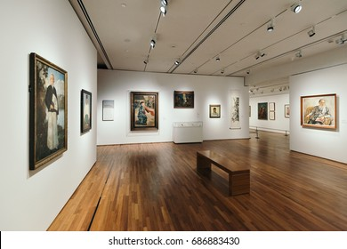 Singapore - Singapore - February 27, 2017: Inside of  The National Gallery Singapore. The National Gallery is an art gallery located in the Downtown Core of Singapore.