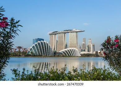 SINGAPORE - FEBRUARY 28, 2015: view of Marina Bay. Marina Bay is one of the most famous tourist attraction in Singapore.