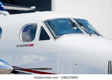 Singapore - February 3, 2018: Detail of Beechcraft King Air 350i on display during Singapore Airshow at Changi Exhibition Centre in Singapore.