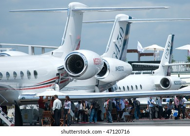 SINGAPORE - FEBRUARY 3: Gulfstream business jets at Singapore Airshow 2010 at Changi Exhibition Centre on February 3, 2010 in Singapore