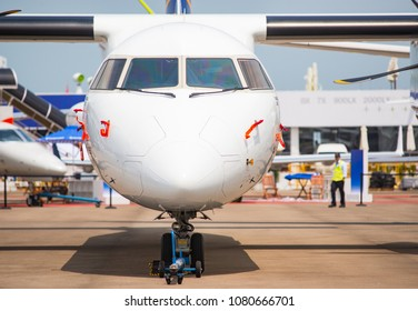 Singapore - February 4, 2018: The Canadian Bombardier Q400 on display during Singapore Airshow at Changi Exhibition Centre in Singapore.