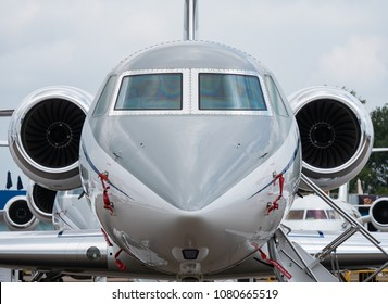 Singapore - February 4, 2018: Front view of Gulfstream G550 business jet on display during Singapore Airshow at Changi Exhibition Centre in Singapore.