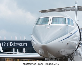 Singapore - February 4, 2018: Front view of Gulfstream business jet on display during Singapore Airshow at Changi Exhibition Centre in Singapore.