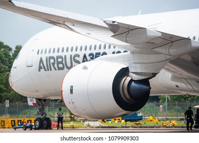 Singapore - February 4, 2018: The Rolls-Royce Trent XWB engine of an Airbus A350-1000 XWB in Airbus factory livery during Singapore Airshow at Changi Exhibition Centre in Singapore.
