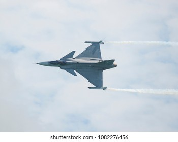 Singapore - February 4, 2018: SAAB JAS 39C Gripen from the Royal Thai Air Force during the aerial display of Singapore Airshow at Changi Exhibition Centre in Singapore.