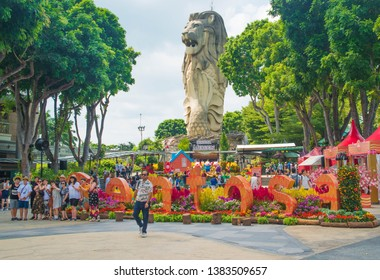 Singapore - February, 4, 2019: The Merlion statue in Sentosa Island.