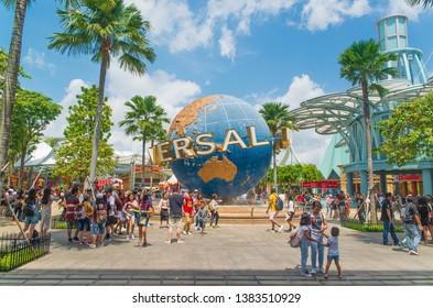 Singapore - February, 4, 2019: Universal Studios in Sentosa Island.