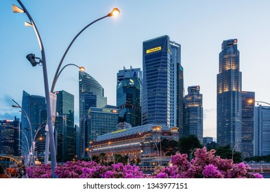 Singapore - February 8, 2019: view of central business district in Singapore at dusk