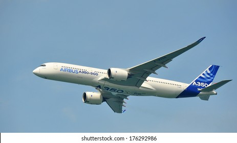 SINGAPORE - FEBRUARY 9: Airbus A350-900 debut at Singapore Airshow February 9, 2014 in Singapore