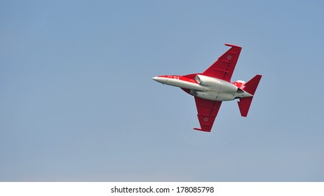 SINGAPORE - FEBRUARY 9: Solo aerobatic flying display by UAC Yak-130 at Singapore Airshow February 9, 2014 in Singapore