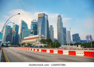 Singapore financial district in the morning