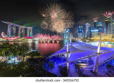 Singapore firework with laser show