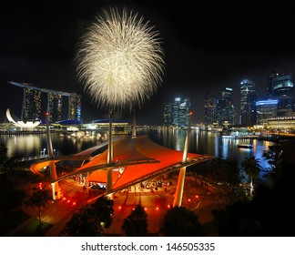 Singapore - Fireworks over Marina Bay