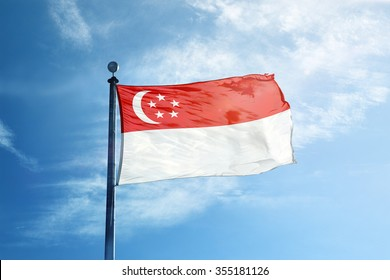 Singapore Flag on the mast
