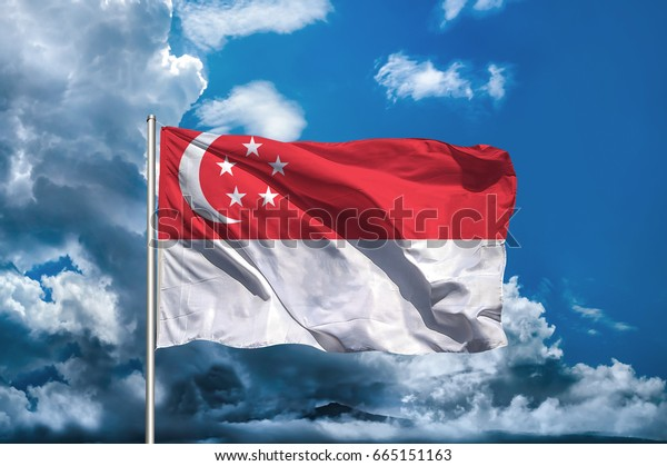Singapore flag with sky background