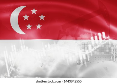 Singapore flag, stock market, exchange economy and Trade, oil production, container ship in export and import business and logistics.