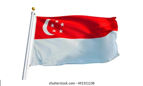 Singapore flag waving on white background, close up, isolated with clipping path mask alpha channel transparency