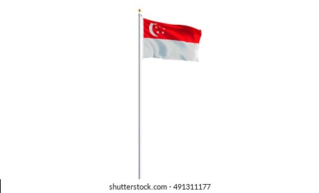 Singapore flag waving on white background, long shot, isolated with clipping path mask alpha channel transparency