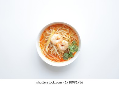 Singapore food, Laksa coconut spicy soup ramen noodles