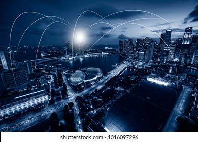 singapore futuristic network connection link