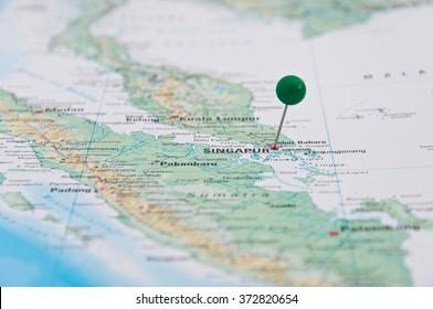 Singapore, Green Pin, Close-Up of Map.