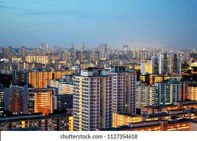 Singapore HDB in evening time