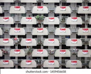 Singapore HDB July 20/2019 morning at Selegie House with full flags on the corridor for National Day of Singapore