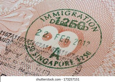 Singapore immigration stamp