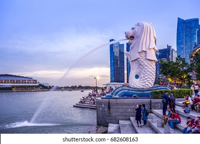 SINGAPORE ISLAND, SINGAPORE - APRIL 23, 2017: The Merlion is a well-known marketing icon of Singapore depicted as a mythical creature with a lion's head and the body of a fish.