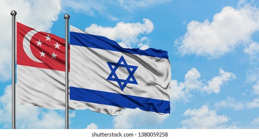 Singapore and Israel flag waving in the wind against white cloudy blue sky together. Diplomacy concept, international relations.