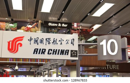 SINGAPORE -JAN 05: Air china board at Changi airport on January 5, 2013 in  Singapore. It is the world 10th airline by fleet size and member of Star Alliance.