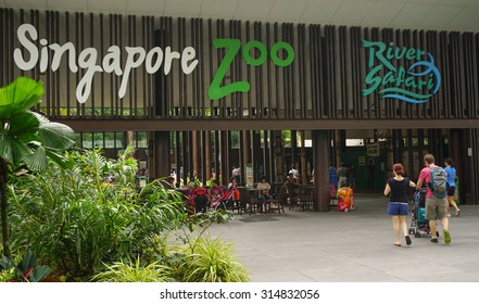 Singapore - Jan 11, 2015. Entrance to Singapore Zoo. There are about 315 species of animal in the zoo. The Singapore zoo attracts about 1.6 million visitors each year.