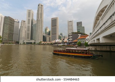 Singapore, Singapore - Jan 11, 2017 : Singapore central business district with Singapore river taken in the day on Jan 11 , 2017