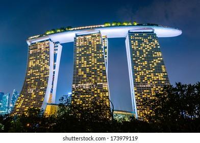 SINGAPORE - JAN 18 : Singapore Marina Bay Sand hotel at night Jan 18, 2014, Singapore. Marina Bay Sands is billed as the world's most expensive standalone casino property at S$8 billion.