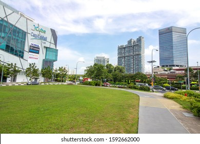 Singapore Jan 20 2019 - View of the Jurong East commercial neighborhood, a residential township located in the West Region of Singapore. Surrounding with shopping complex, shop houses and MRT station