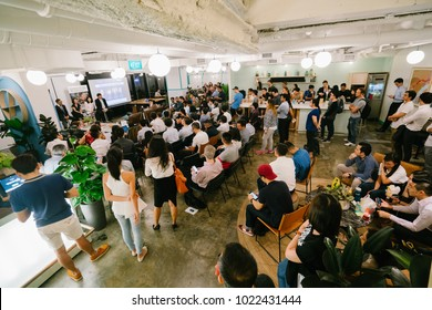 Singapore, Jan 2018: An event at the new and popular coworking space WeWork at Beach Road, Singapore. Coworking spaces like these are an increasingly popular choice for startups and businesses.