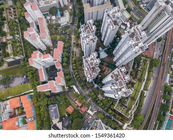 Singapore Jan 21 2019: Aerial drone panoramic view of commercial and residential architectural buildings around Alexandra and Queenstown.