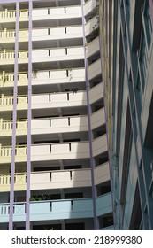Singapore, Singapore - Jan 29, 2014 : Geometrical low angle view of Singapore public housing (HDB) taken in the day on Jan 29, 2014