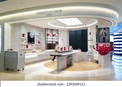 SINGAPORE - JAN 4, 2019: Dior brand cosmetics store in Orchard Road, Singapore. It is a European luxury goods company controlled and chaired by French businessman Bernard Arnault, who also heads LVMH.
